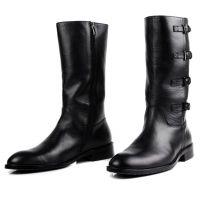 欧美男式真皮皮靴优质牛皮皮靴高筒靴高帮鞋军靴工作皮靴男黑色