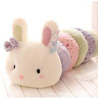 蓝白玩偶可爱彩色毛毛虫小兔子公仔毛绒玩具抱枕 儿童节生日礼物
