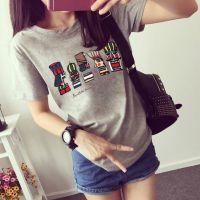 2015新款大码夏季t恤女式短袖女打底衫印花圆领学生衣服女士上衣