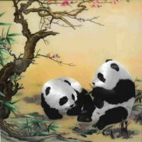 手工刺绣熊猫,中国广东圣绣坊刺绣,双熊猫