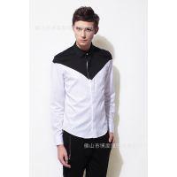 2015欧美潮流男式长袖衬衫 新款撞色修身衬衫 修身衬衫