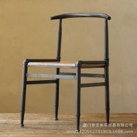 厂家直销简约实木骨架酒吧餐厅黑色亚光椅子靠背铁艺 可定做