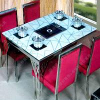 新品热卖 地中海风格火锅烧烤一体桌 小电磁炉火锅桌