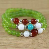 原创三圈多圈手链项链两用 橄榄晶 红玛瑙 绿松石 泰银配件