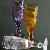 zakka 欧式复古刻花玻璃太阳花玻璃杯子 红酒杯果汁水杯高脚杯