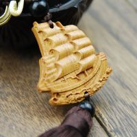 【厂家批发】花梨精雕刻帆船 保事业一帆风顺 汽车挂件 SC-089