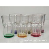 供应机压八角杯 炫彩玻璃杯套装 可定制颜色