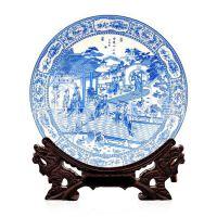 景德镇陶瓷器 青花瓷十二金钗装饰盘 摆件 挂盘 花盘 家居摆设