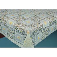 供应PVC防水桌布 防油台布 免洗餐桌布 烫金蕾丝桌布