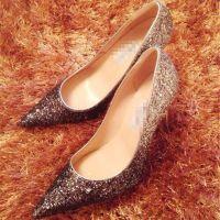 星星的你原版打造J*C渐变色亮片尖头细跟高跟鞋真皮性感女鞋婚鞋