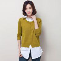 OLILY春装女式衬衫领拼接假两件套针织衫韩版修身套头毛衣女