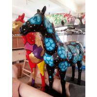 佛山名图玻璃钢彩绘马雕塑厂家定制树脂仿真动物公园草坪游乐场