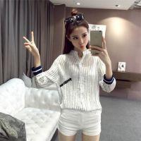 2016秋季新款韩版女装时尚字母刺绣条纹单排扣九分袖薄棒球服批发