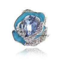 【玫瑰花饰品批发】欧美水晶戒指批发 镶钻戒指批发 800565G