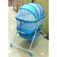 亮仔王外出可折叠婴儿床 0-1岁 婴儿摇蓝床带轮子和蚊账
