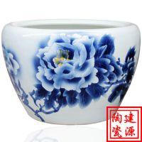 手绘陶瓷鱼缸 景德镇陶瓷鱼缸价格