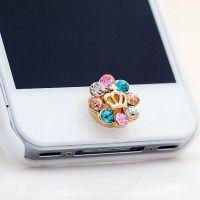 韩版时尚迷你手机防尘塞 镶钻花朵黄冠手机按键贴 ALQP20140184