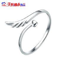 天长地久饰品925银可爱戒指 女款 天使的翅膀 开口可调节情侣指环