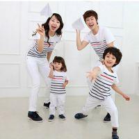 2015年韩版夏款亲子装 胸章条纹短袖纯棉圆领T恤 家庭装一件代发