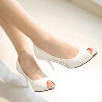 2015新品鱼嘴凉鞋蕾丝透气网纱高跟鞋舒适细跟尖头工作鞋3288-2