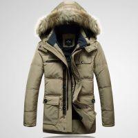 加厚羽绒服男装 大貉子毛领中长款男冬装外套 可做工服 劳保