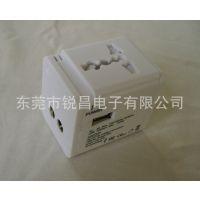 全球通用转换插头插座 新款单双USB款 方形电源转换插座礼品盒包