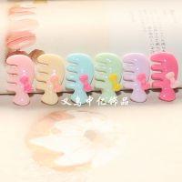 树脂梳子 儿童头饰配件环保树脂材料糖果色蝴蝶结小梳子