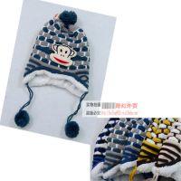 11.7 出口原单童帽 猴子毛球毛线帽 捂耳朵男女童帽