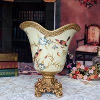 欧式花瓶摆件 树脂配陶瓷工艺品摆件 客厅餐桌摆设家居装饰品批发
