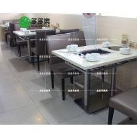 无烟自助烧烤桌 火锅烧烤一体桌 现代中式大理石桌 多多乐家具