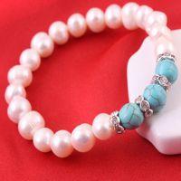 绿松石手链 天然淡水珍珠手链镶钻 精品首饰品混批发货源工厂直销