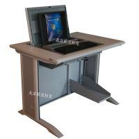 托克拉克供应板式简约多功能翻转电脑桌 多媒体教室电脑桌 托克拉克