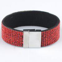 新款欧美时尚韩版手镯 皮革镶满钻磁铁接口手链女 饰品货源B008