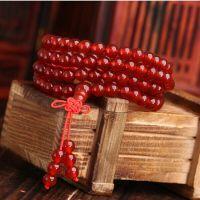 聚宝堂水晶    纯天然 红黑玛瑙108颗佛珠手链 情侣款