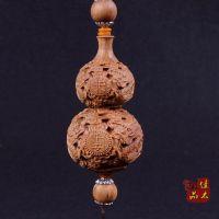 佳木御品 澳洲檀香手工艺品 木质双龙葫芦雕刻车挂 一件起批