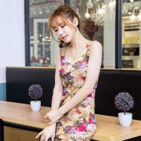 外贸原单夏新款女装 欧美多色印花包臀性感吊带中长款背心打底衫