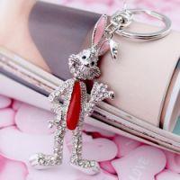 义乌饰品批发 厂家直销-包包挂件-卡通兔子-钥匙扣(银色)2517-1