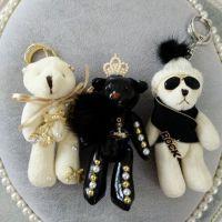 包邮韩国代购帽子墨镜可爱泰迪小熊创意钥匙扣包挂车钥匙挂件