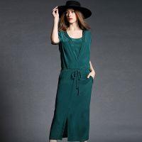 2022高端女装一件代发欧美2015夏装OL假两件显瘦中连衣裙开叉长裙