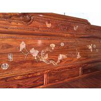 名琢世家刺猬紫檀原木精品兰亭序雕花豪华大床价格优惠