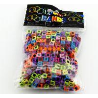 批发彩虹橡皮筋 rainbow loom 彩虹织机饰品大孔方形字母珠子批发