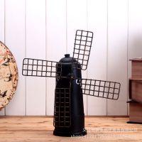 复古道具铁艺咖啡磨大风车储蓄罐 拍电影摄影道具橱窗装饰品摆件