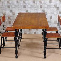 海德利厂家定制 美式乡村复古餐桌 长方形实木铁艺餐桌 批发