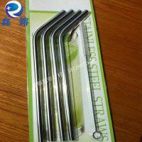 批发304食品级直螺纹不锈钢吸管 折弯压槽不锈钢吸管 餐具吸管