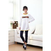 2015春款女装 韩版女大版长款t恤衫长袖 大码女装刺绣外贸打底衫