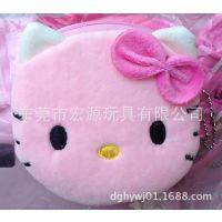 厂家加工定制卡通可爱小猫头钥匙包 可爱粉红KT猫钱包 可来图来样
