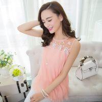 2015夏季新款中长款纯色蕾丝背心裙女圆领大码吊带背心网纱打底衫