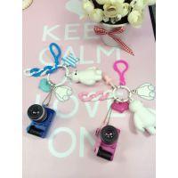超萌可爱大白挂件 时尚相机大白钥匙扣 创意礼物挂包链子 钥匙链