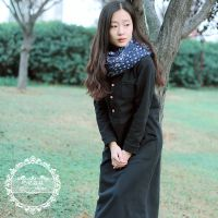 秋冬连衣裙长袖复古文艺女装立领纯棉针织加厚加绒法兰绒超长款