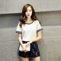 2015夏装新款韩版女装显瘦短袖棉麻时尚休闲套装印花短裤两件套女